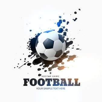 Voetbal geplaatst op inkt splash achtergrond