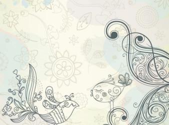 Vogels bloemen en bladeren illustratie