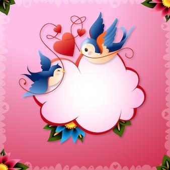 Vogels van de Dag van de Valentijnskaart met harten en Word Balloon Vector Illustration