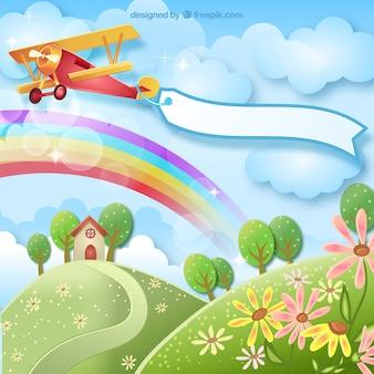 Voorjaar achtergrond met een vliegtuig