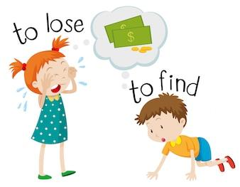 Voorovergestelde woordkaart om te verliezen en te vinden