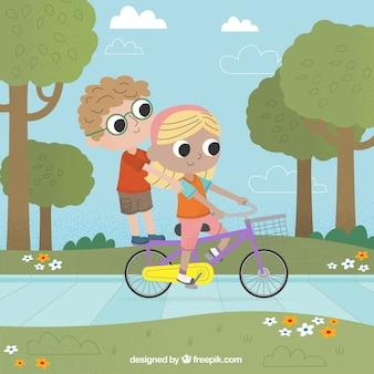 Vrienden rijden op een fiets buiten