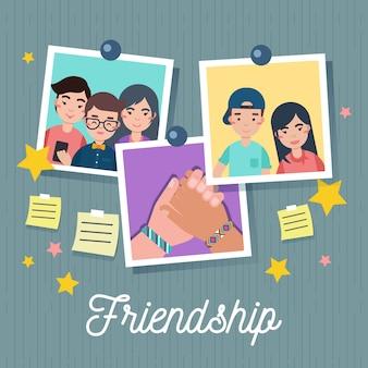 Vriendschap dag achtergrond met foto's