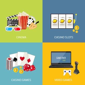 Vrije tijd video sport en gokken casino spelletjes platte pictogrammen set geïsoleerde vector illustratie
