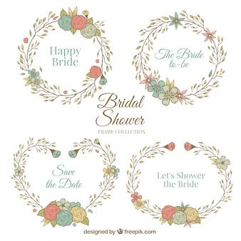 Vrijgezellenfeest frames met bloemen in retro stijl