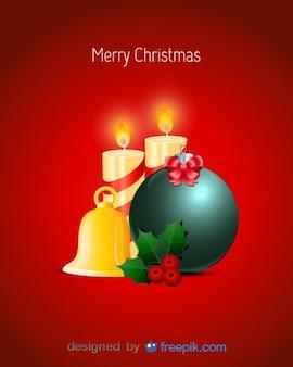 Vrolijk kerst postkaart met kaarsen, hulst, klok, en kerstbal