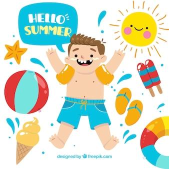 Vrolijke jongen met decoratieve zomer elementen