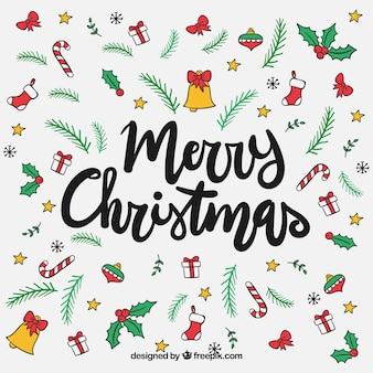 Vrolijke Kerst achtergrond met handgetekende elementen