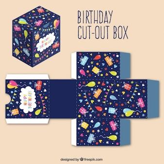 Vrolijke verjaardag uitgesneden doos