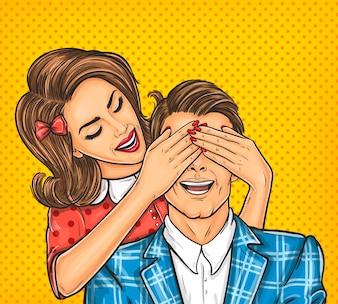 Vrouw sluit ogen aan haar man