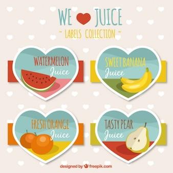 Vruchtensap labels hartvormige