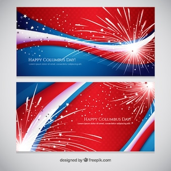Vuurwerk abstracte banners van de Dag van Columbus