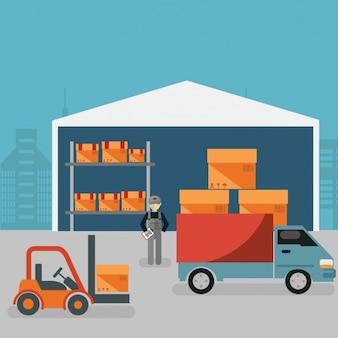 Warehouse achtergrond ontwerp