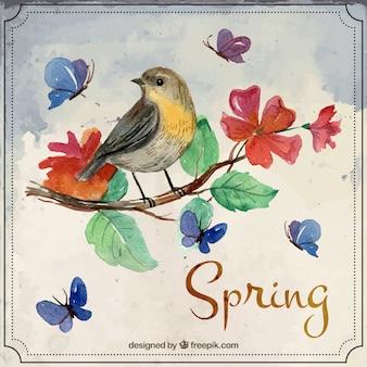 Watercolor beautibul vogel op een tak