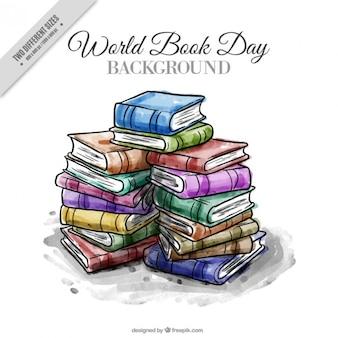 Watercolor gestapelde boeken achtergrond