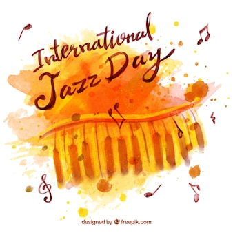 Watercolor jazz achtergrond met piano