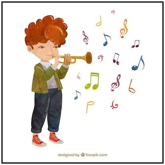 Watercolor muzikant jongen