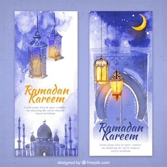 Watercolor ramadan flyers