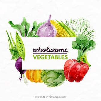 Watercolor verscheidenheid aan groenten achtergrond