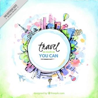 Watercolor wereld met een reis-bericht