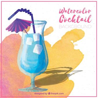 Waterkleur blauwe cocktail achtergrond