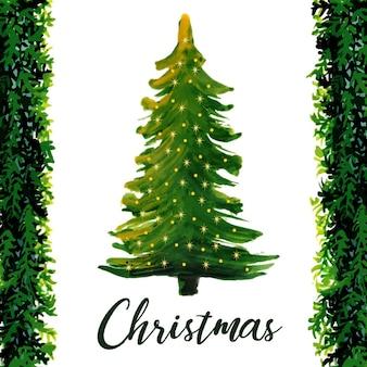 Waterverf Abstracte Kerstboom