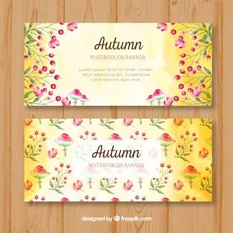 Waterverf banners met natuurlijke elementen van de herfst