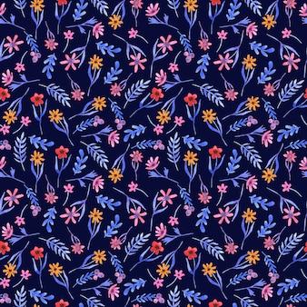 Waterverf blauw patroon met bloemen