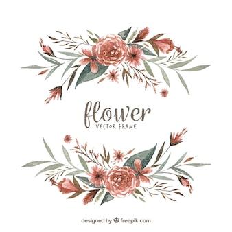 Waterverf bloemenframe met artistiek ontwerp