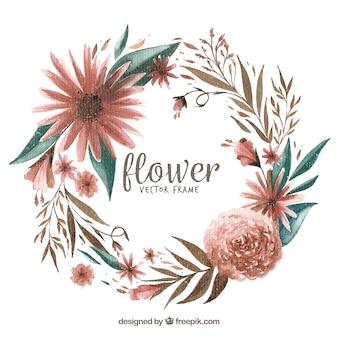 Waterverf bloemenframe met bladeren en bloemen