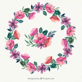 Waterverf bloemenframe met elegante stijl