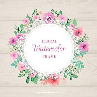 Waterverf bloemenframe
