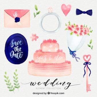Waterverf bruiloft elementen