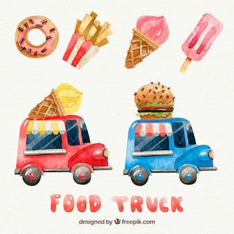 Waterverf eten en voedsel vrachtwagens
