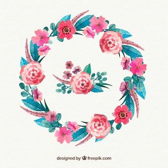 Waterverf floral frame met verscheidenheid aan bloemen