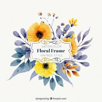 Waterverf frame met bloemen