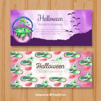 Waterverf Halloween banners