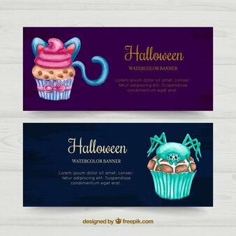 Waterverf Halloween cupcakes banners