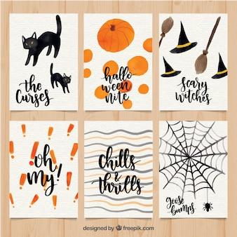 Waterverf Halloween kaarten met schattige stijl