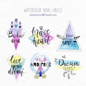 Waterverf het boho stickers met inspirerende boodschappen
