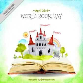 Waterverf het open boek met een kasteel achtergrond