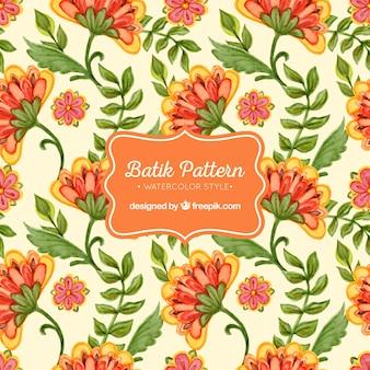 Waterverf het patroon van de batik