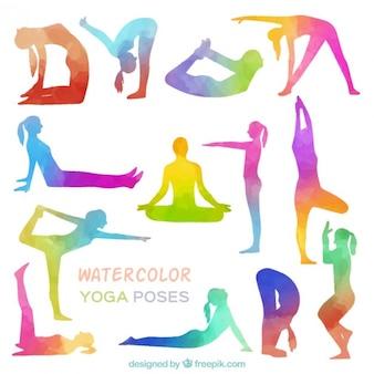 Waterverf het yoga houdingen