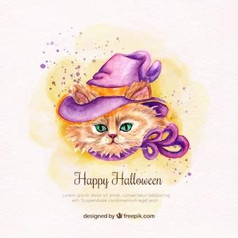 Waterverf kat achtergrond met heks hoed