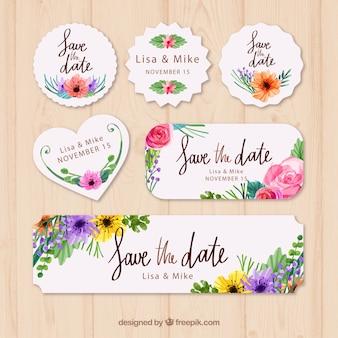 Waterverf pak met bloemen trouwlabels