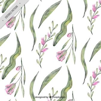 Waterverf patroon met paarse bloemen
