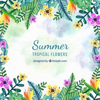 Waterverf zomer bloemen achtergrond