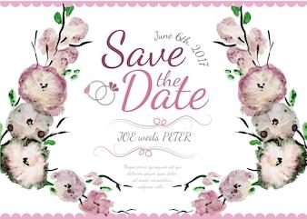 Waterverfbloemen huwelijksuitnodiging