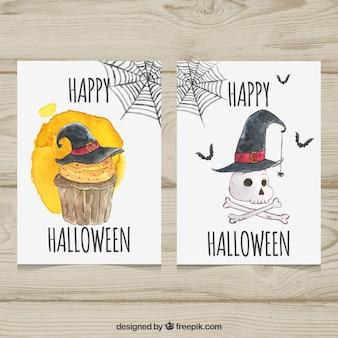 Waterverfkaarten met schedel en cupcake