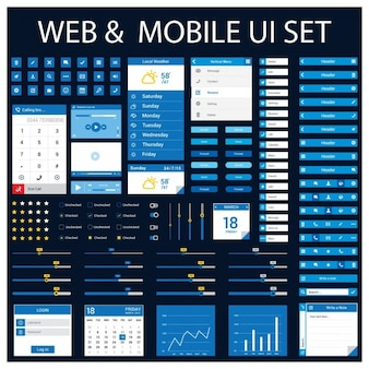 Web en mobiele applicatie design element set